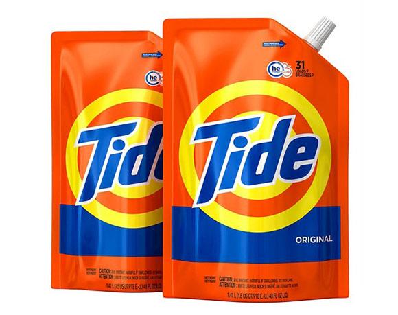Liquid detergent pouch packaging